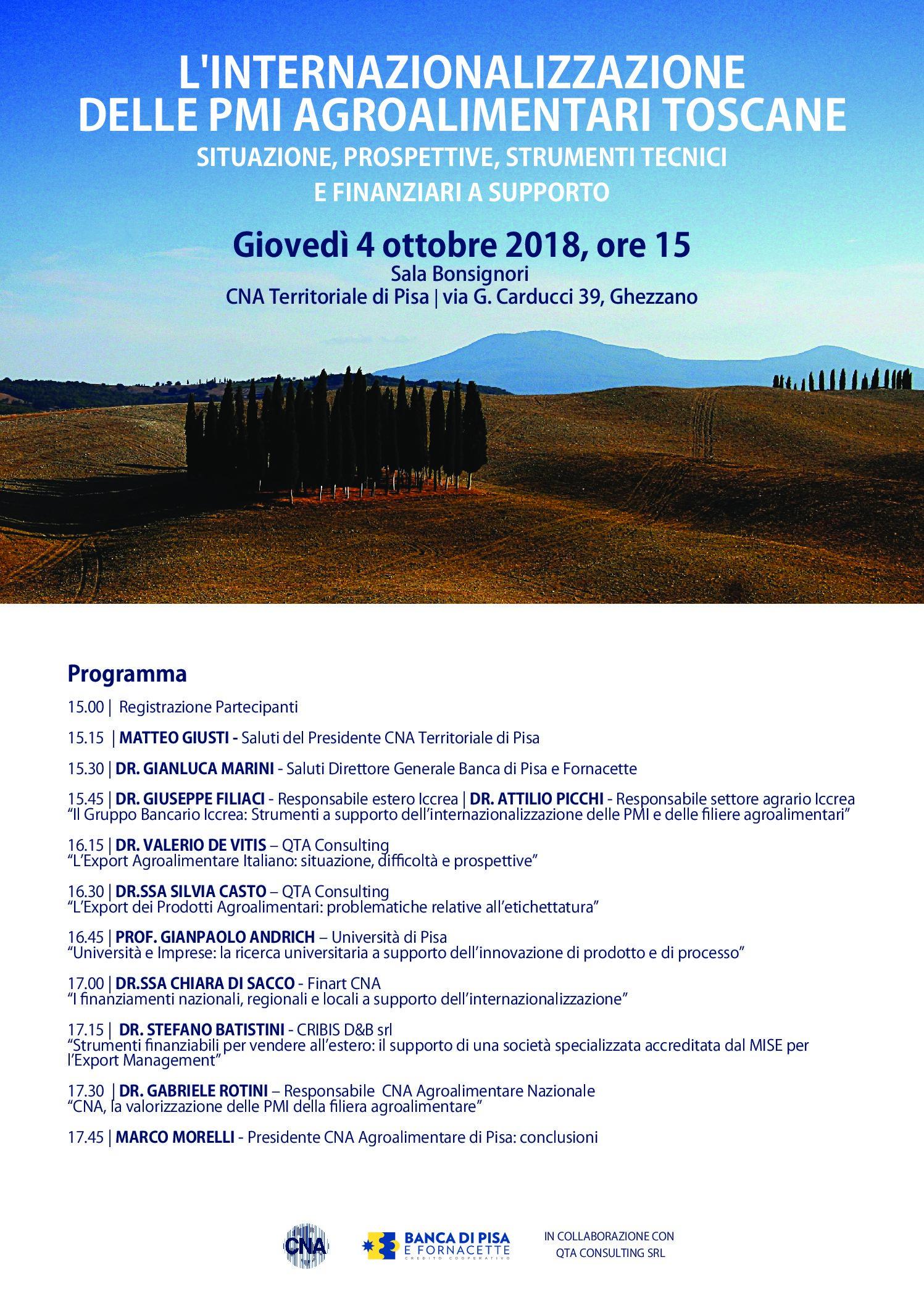 Convengno 4 ottobre: Internazionalizzazione delle PMI Agroalimentari Toscane